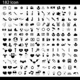 Vector zwarte 182 universele geplaatste Webpictogrammen stock illustratie
