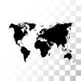 Vector zwarte wereldkaart Stock Afbeeldingen