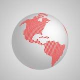 Vectoraardebol met rode geregelde kaart van continent Amerika stock illustratie