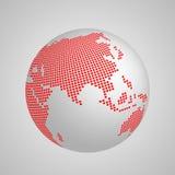 Vectoraardebol met rode geregelde kaart van continent Azië vector illustratie
