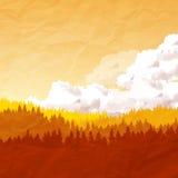 Vectorachtergrond Autumn Landscape Stock Foto's