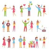 Vectorachtergrond in een vlakke stijl van groep gelukkige beste vrienden die en verjaardagspartij zingen vieren vector illustratie