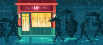 Vectorachtergrond met bar, nachtkoffie in regen royalty-vrije illustratie