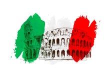 Vectorachtergrond met beweging veroorzakend Italië Stock Foto's
