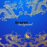Vectorachtergrond met de draken van Azië Getrokken hand Royalty-vrije Stock Foto's