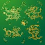 Vectorachtergrond met de draken van Azië Getrokken hand Royalty-vrije Stock Afbeelding