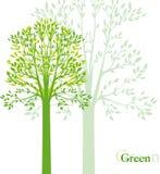 Vectorachtergrond met de lentebomen Stock Afbeeldingen