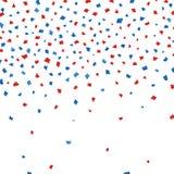 Vectorachtergrond met document confettien in traditionele Amerikaanse rode kleuren -, wit, blauw 4 van Juli vector illustratie