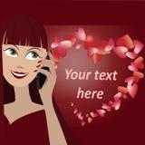 Vectorachtergrond met gezicht van meisje het spreken telefonisch en vele harten in vorm van hart Royalty-vrije Stock Afbeeldingen