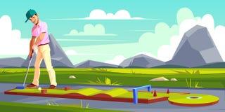 Vectorachtergrond met golfspeler op gebied vector illustratie