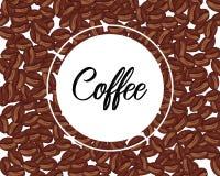 Vectorachtergrond met hand getrokken natuurlijke koffiebonen Het naadloze patroon van koffiebonen Uitstekend koffieontwerp voor w stock illustratie