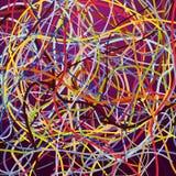 Vectorachtergrond met het bewegen van kleurrijke lijnen Heldere achtergrond van krommenlijnen Royalty-vrije Stock Afbeelding