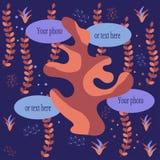 Vectorachtergrond met hier marine of aquariuminstallaties en kaders voor Uw foto of Tekst De Skandinavische tekening van de stijl vector illustratie