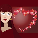 Vectorachtergrond met leuk gezicht van meisje en vele harten in vorm van hart Stock Afbeelding
