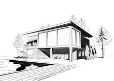 Vectorachtergrond met modern huis met het zwemmen  Royalty-vrije Stock Afbeelding