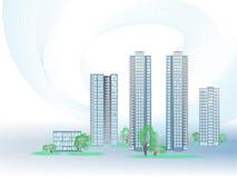 Vectorachtergrond met moderne gebouwen Stock Foto's
