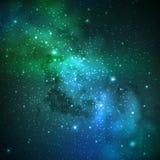 Vectorachtergrond met nachthemel en sterren illustratie van kosmische ruimte Melkweg Stock Foto's