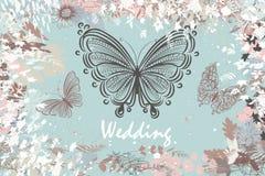 Vectorachtergrond met in pastelkleuren met vlinders en flo Royalty-vrije Stock Fotografie