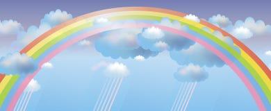 Vectorachtergrond met regenboog Royalty-vrije Stock Afbeelding