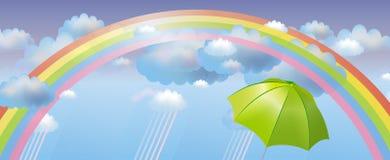Vectorachtergrond met regenboog Royalty-vrije Stock Afbeeldingen