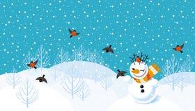 Vectorachtergrond met sneeuwman Stock Afbeeldingen