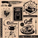 Vectorachtergrond met snel voedselsymbolen Menupatroon Royalty-vrije Stock Foto