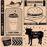 Vectorachtergrond met snel voedselsymbolen Menupatroon Stock Foto's