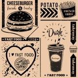 Vectorachtergrond met snel voedselsymbolen Menupatroon Stock Afbeelding