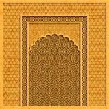 Vectorachtergrond met traditionele Indische architectuur en gouden ornamenten vector illustratie