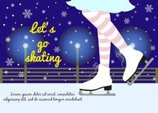Vectorachtergrond met voeten in kunstschaatsen op de winter backg stock illustratie