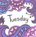Vectorachtergrond met woord - dinsdag vector illustratie