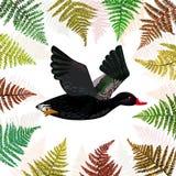Vectorachtergrond met zwarte vliegende eend met varenbladeren Stock Foto