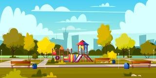 Vectorachtergrond van beeldverhaalspeelplaats in park stock illustratie