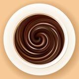 Vectorachtergrond van gemengde hete chocolade in een kom Stock Foto's