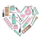 Vectorachtergrond van schoonheidsmiddelen en hulpmiddelen voor manicure Hart van Stock Afbeelding
