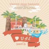 Vectorachtergrond van Verenigde Arabische Emiraten De vlieger van de V.A.E met moderne gebouwen en moskee in lichte stijl Royalty-vrije Stock Afbeelding