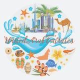Vectorachtergrond van Verenigde Arabische Emiraten reeks De vlieger van de V.A.E met moderne gebouwen en moskee in lichte stijl Royalty-vrije Stock Fotografie