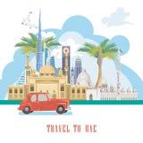 Vectorachtergrond van Verenigde Arabische Emiraten Reis naar Doubai De vlieger van de V.A.E met moderne gebouwen en moskee in lic Royalty-vrije Stock Foto's