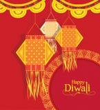 Vectorachtergrond voor diwalifestival met het Hangen van lampen royalty-vrije stock afbeelding