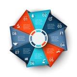Vectorachthoekelement voor infographic Stock Afbeeldingen