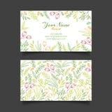 Vectoradreskaartjemalplaatje met bloemenpatroon Royalty-vrije Stock Afbeeldingen