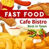 Vectoraffiche of menu voor bistro van de snel voedselkoffie Royalty-vrije Stock Foto