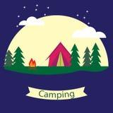 Vectoraffiche op het thema van het kamperen met een tent Royalty-vrije Stock Foto's