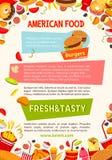Vectoraffiche van de snacks en de maaltijd van de snel voedselaffiche Stock Fotografie