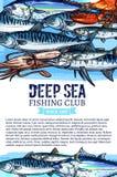 Vectoraffiche van de vangst van de vissenzeevruchten van de visserijclub stock illustratie