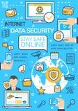 Vectoraffiche van Internet-gegevensbeveiligingtechnologie stock illustratie
