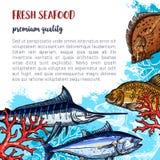 Vectoraffiche van vers zeevruchten en vissenvoedsel vector illustratie
