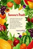 Vectoraffiche van verse tropische exotische vruchten Royalty-vrije Stock Foto