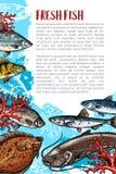 Vectoraffiche van verse vissen of overzees voedsel vector illustratie