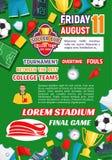 Vectoraffiche voor de ligaspel van de voetbaluniversiteit Royalty-vrije Stock Fotografie